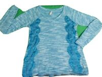 Red Camel Long Sleeve Top Shirt Blouse Women's Medium Stretch Lace Turquoise V-N
