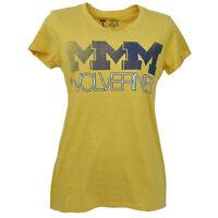 NCAA Michigan Wolverines Yellow Triple Logo Tshirt Tee Womens V Neck Short Sleev