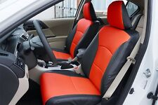HONDA ACCORD 2013-2017 BLACK/RED LEATHER-LIKE CUSTOM MADE FIT FRONT SEAT COVER