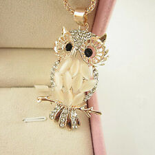 Rose Gold Plated Opal Crystal Owl Pendant Necklace Long Sweater Chain Cat's Eye