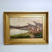 Giovanni COLMO (1867-1947) Quadro DIPINTO Olio su cartoncino Paesaggio Firma