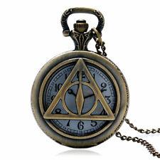 Vintage Bronze Hollow Triangle Tripod Quartz Pocket Watch Men Pendant Watches