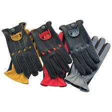 New Prime Retro Real Leather Men's Classic Driving Gloves Unlined Chauffeur 515