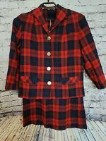 Vintage 50s Pendleton Pure Virgin Wool Suit Red Plaid Skirt Blazer 2 Piece Sz 16