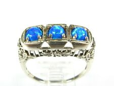 .50ctw Natural Round Cut Opal Victorian Deco Sterling Filigree Band Ring s7 116a
