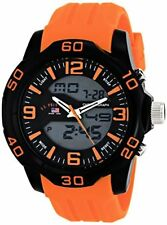 U.S. Polo Assn. Sport Mens Analog-Digital Watch W/ Orange Silicone Band