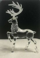 Vintage Lucite Acrylic Deer Buck Figurine Frosted Antlers Textured