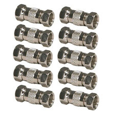 10pc F-Type Dual Male Coax Cable Inline Coupler