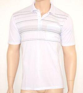 MAGLIETTA uomo BIANCA maglia estiva POLO t-shirt cotone maniche corte  righe 30A