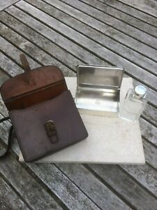 James Dixon Combination Hunting Flask and Silver Plated Sandwich Tin in Leather