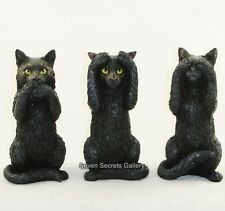 Three Wise Cats Hear no See no Speak no Evil Lucky Black Cat Figurine Ornament