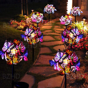 Set of 2 Solar Power Butterfly LED Garden Lights Stake Lawn Fence Deck Lamp UK