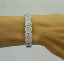 Solid 925 Sterling Silver White Emerald Halo Beautiful Bracelet Jewelry CZ Gift*