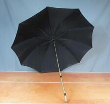 Vintage 1960s Black Umbrella Parasol Rain Sun w/Cool Metal Handle Great Display!