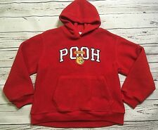 THE DISNEY STORE BOYS WINNIE THE POOH FLEECE PULLOVER HOODIE Sz MED YOUTH RED