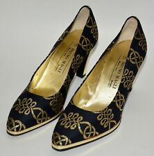 BRUNO MAGLI Textile Pumps blue gold leather pointy toe shoes sz 8