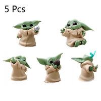 5 Pcs Yoda Jedi Master PVC Star Wars Baby Cute Movie Series Action Figures Toys