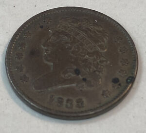 1833 Philadelphia Mint Copper Classic Head Half Cent 13 stars