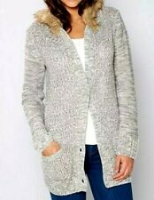 New Women's Be You Faux Fur Hooded Knitted Button Cardigan Size UK 20/22 RRP£35