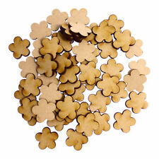 50 x Wooden Laser Cut MDF shapes Craft Blank Embellishments - Flower 01 20mm