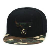 Mitchell & Ness Chicago Bulls Snapback Hat Cap Black/Camo/Camo