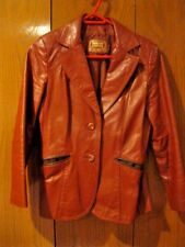 Women's Vintage Brown Leather Jacket Two Button Two Pockets Size 11 / 12