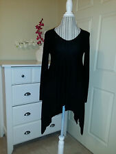 NWT Cupio Womens Black Knit Asymmetric V-Neck Sweater Tunic Long Sleeve Sz.S $72