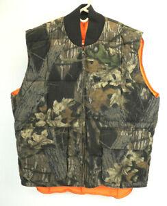 Cabelas Mens Northern Goose Down Camouflage Orange Reversible Hunting Vest Sz M