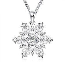 925 Silber Halskette Kette Zirkonia Stein Schneeflocke Engel Anhänger Damen Neu
