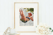 Hilda swinging. Illustration on vintage dictionary page. 8x10 inch, not framed.
