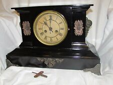 Antique Waterbury Co. Cast Iron & Brass Mantle Clock w/key, Works, Made in USA