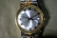 TIMEX Vintage Mens Gold Plated Date Watch w/new SPIEDEL STRAP, running.