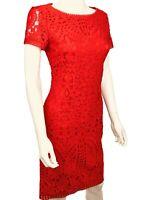 New ~$1300.St. John Dress. SIZE 6.  Red. Lace. Short Sleeves. Sheath. Round Neck