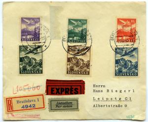 Slowakei 1940 Luftpost Eil-E-Brief mit Satz 48/3 nach Leipzig, zensuriert