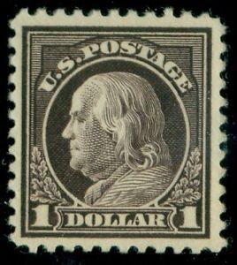 US #518, $1.00 violet brown, fresh og, NH, XF, $85.00