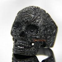 Black Flower Skull 316L Stainless Steel Ring Men's Gothic Rocker Biker Jewelry