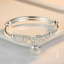 925 Sterling Silver Plate Bead Bracelet Women Bangle Charm Ladies Jewellery Gift