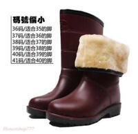 Winter Womens Fur Lining Waterproof Rain Snow Warm Pull On Mid-Calf Boots Shoes