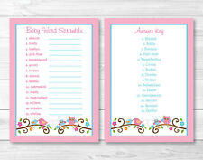 "Pink Baby Owl Love Birds Printable Baby Shower ""Baby Word Scramble"" Game Cards"