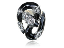 Silver Tone Black Enamel Body Snake Clear Rhinestone Crystal Sized Jewelry Ring