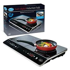 2800W TWIN DIGITAL INDUCTION HOB DOUBLE HOT PLATE WITH 10 TEMP SETTINGS BLACK