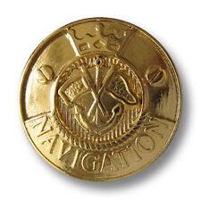 5 elegante goldfb. Metallknöpfe m. Anker, Fahnen, Krone & Schriftzug (2730go-21)