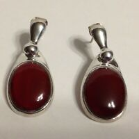 SX Thailand Sterling Silver 925 Red Stone Hinged Pierced Earrings 7.2 Grams