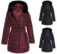 Womens Faux Fur Trim Hooded Quilted Padded Warm Long Belted Winter Coat