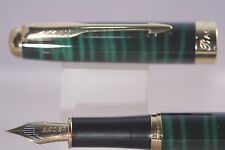 Baoer No. 388 Green & Black Marble Medium Fountain Pen with Gold Plated Trim