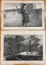 "21"" Antique 1871 Pair Harpers Weekly Reynards Holiday Cutting Figure News Prints"