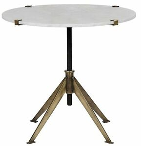 """30"""" Set of Two Side Table Night Stand Metal Quartz Stone Rustic Modern 9216"""