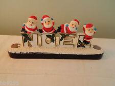 Vintage Japan Christmas Santa Noel Candle Holder Spaghetti Trim