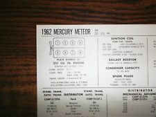 1962 Mercury Meteor 221 CI V8 SUN Electric Tune Up Chart Excellent Condition!