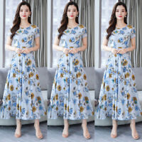 Women Casual Round Neck Short Sleeve Floral Printed Party A-Line Long Maxi Dress